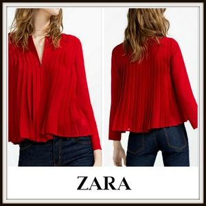 Zara Burgundy Pleated Flowy Blouse Zip Jacket